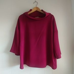 Chico's Wine Colored Cowl Neck 3/4 Sleeve Blouse